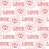 Love hearts and handwritten lettering LOVE seamless pattern. Doo