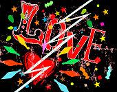 love hits like lightning, falling in love symbol, grunge style vector illustration
