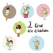 I Love Ice Cream set of icons. Vector illustration, hand drawn