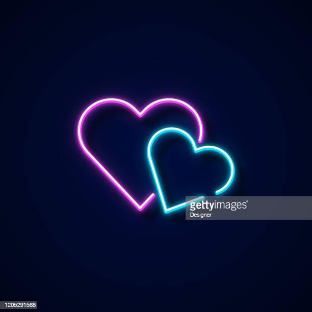 illustrazioni stock, clip art, cartoni animati e icone di tendenza di icona amore stile neon, elementi di design - colore fluorescente