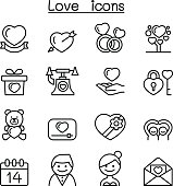 Love icon set in thin line style