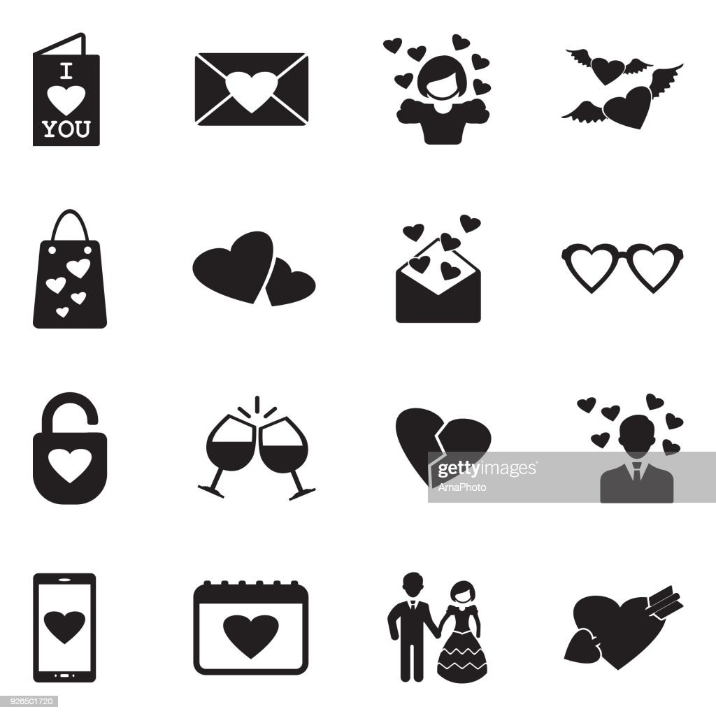 Love Icons. Black Flat Design. Vector Illustration.