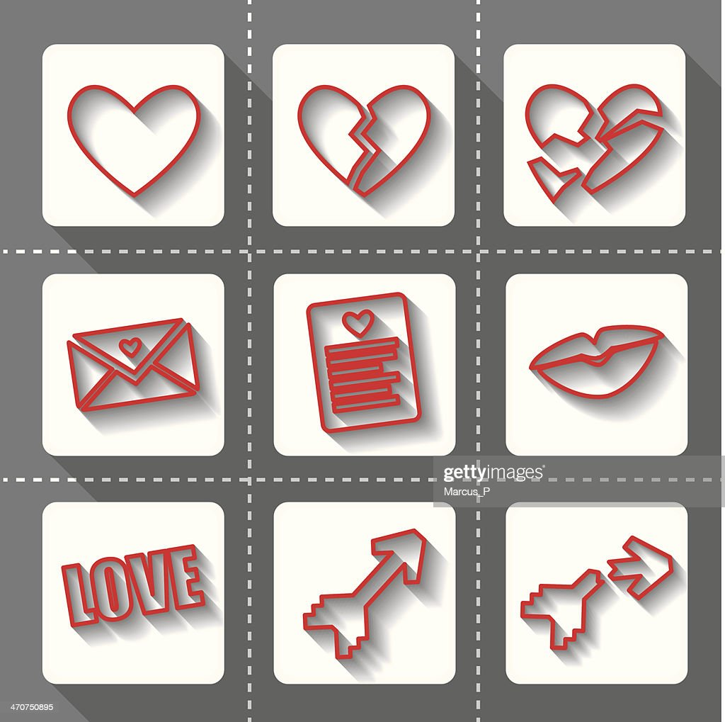 Love Icons Outline with Shadows