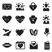 Love Icons. Set 2. Black Flat Design. Vector Illustration.