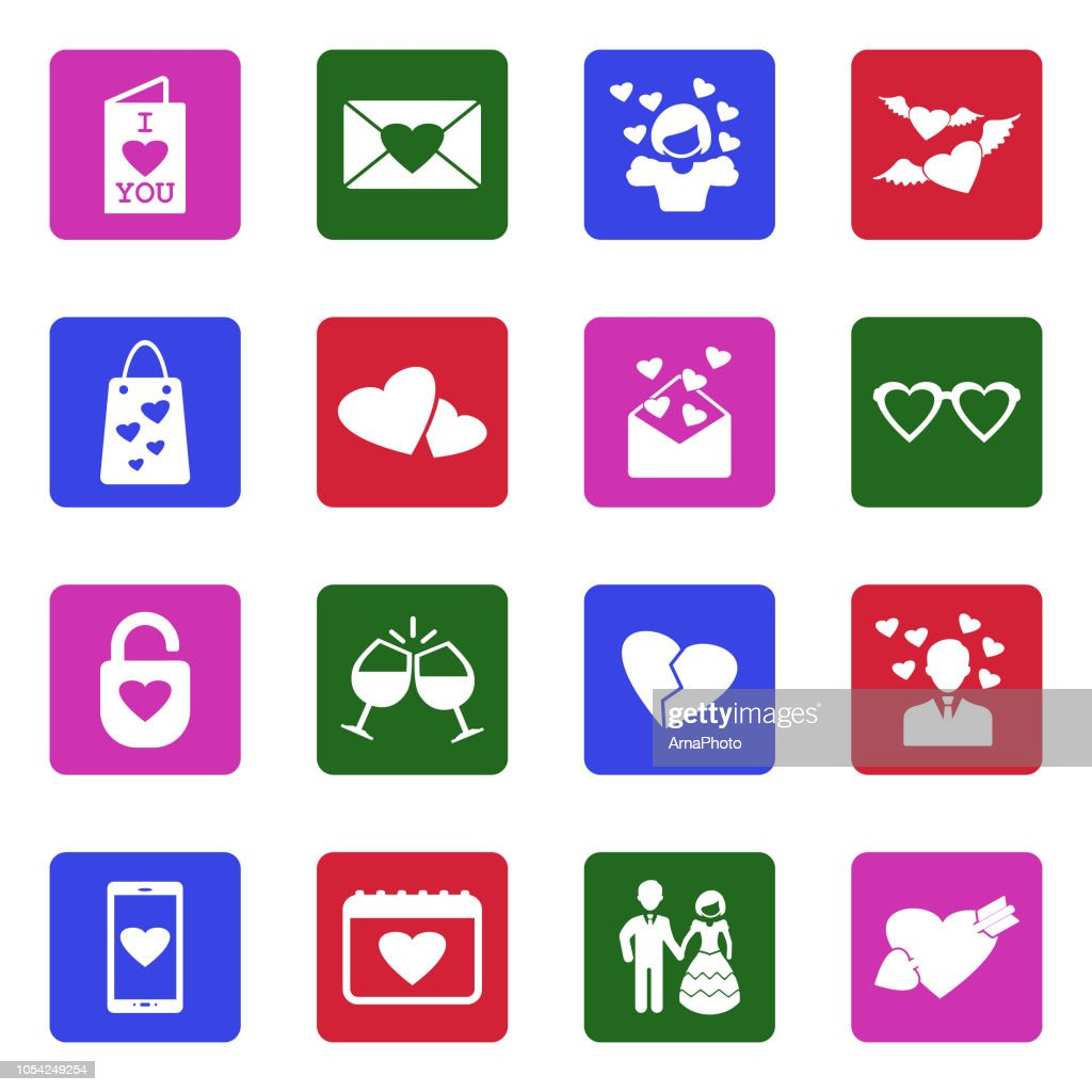 Love Icons. White Flat Design In Square. Vector Illustration.