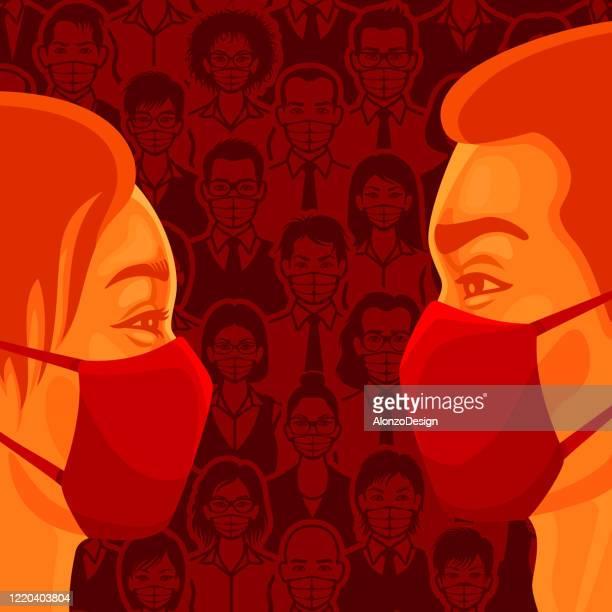 ilustrações, clipart, desenhos animados e ícones de amor em pandemic times. prevenção de coronavírus. - female surgeon mask