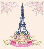 Love in Paris nice card - vintage floral design