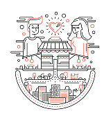 Love in the city - line design illustration