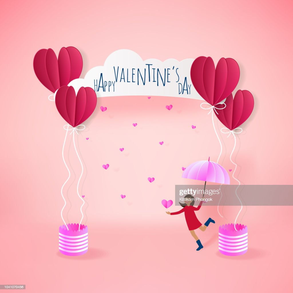 love Invitation card Valentine's day balloon heart on pink bacground with text happy valentines day and young girl joyful,clouds, paper cut red heart. Vector illustration.