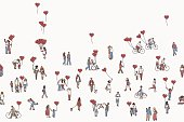 Love is all around - illustration of tiny people holding heart shaped balloons