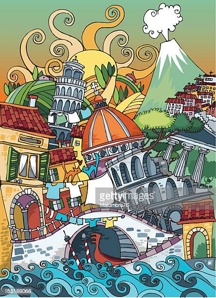 love italy - mt vesuvius stock illustrations, clip art, cartoons, & icons