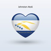 Love Johnston Atoll symbol. Heart flag icon.
