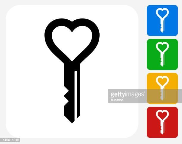 ilustrações, clipart, desenhos animados e ícones de amor chaves ícone plano de projeto gráfico - chave