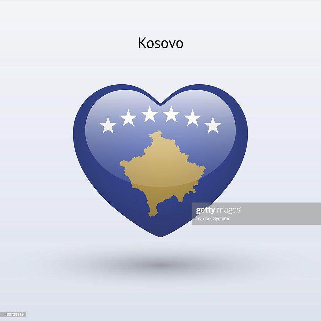 Love Kosovo symbol. Heart flag icon.