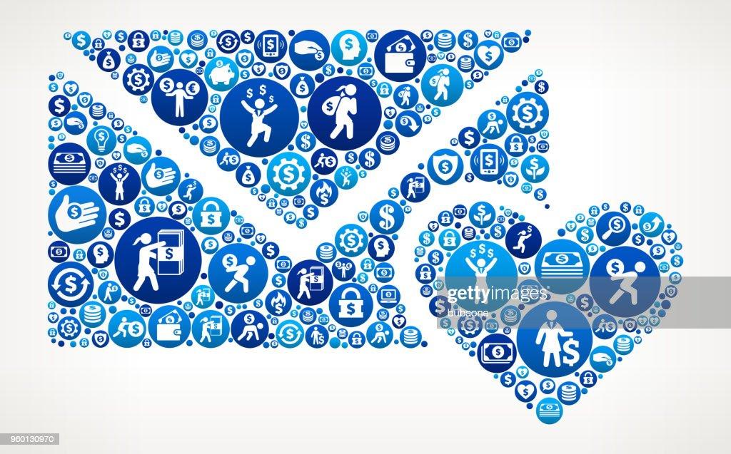 Liebesbrief und Herz Geld blaues Symbol Muster Hintergrund : Stock-Illustration