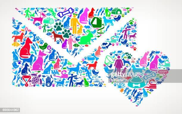 愛の手紙と心ペットと動物ベクトル アイコン背景 - heart shape点のイラスト素材/クリップアート素材/マンガ素材/アイコン素材