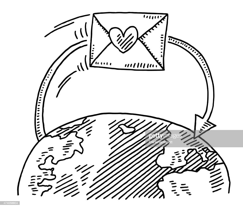 Love Letter Around The World Drawing High Res Vector Graphic