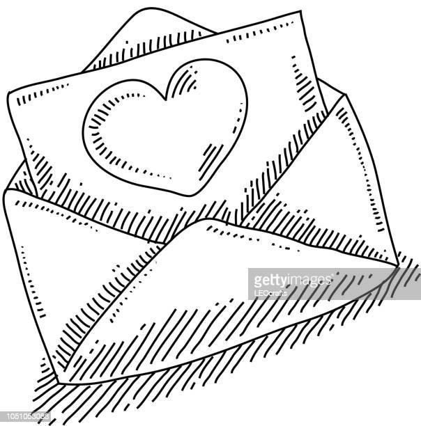 ilustraciones, imágenes clip art, dibujos animados e iconos de stock de amor dibujo de la letra - carta de amor