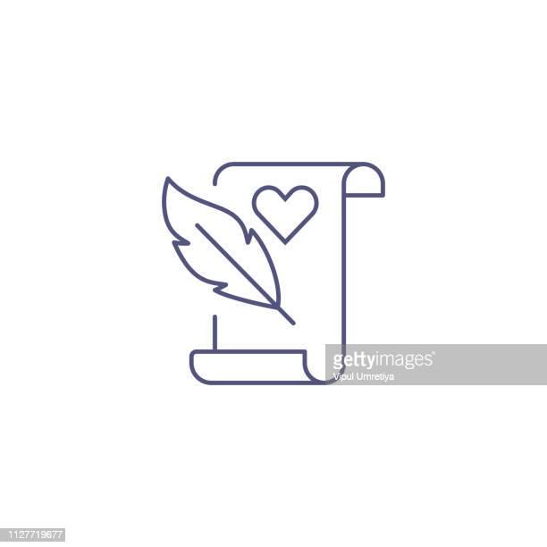 ilustraciones, imágenes clip art, dibujos animados e iconos de stock de amor carta diseño plano día de san valentín icono de romance - carta de amor