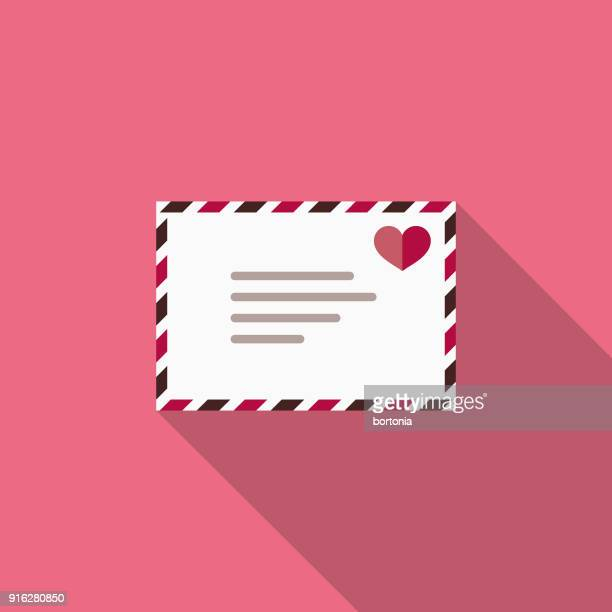 love letter flat design valentine's day romance icon - message stock illustrations