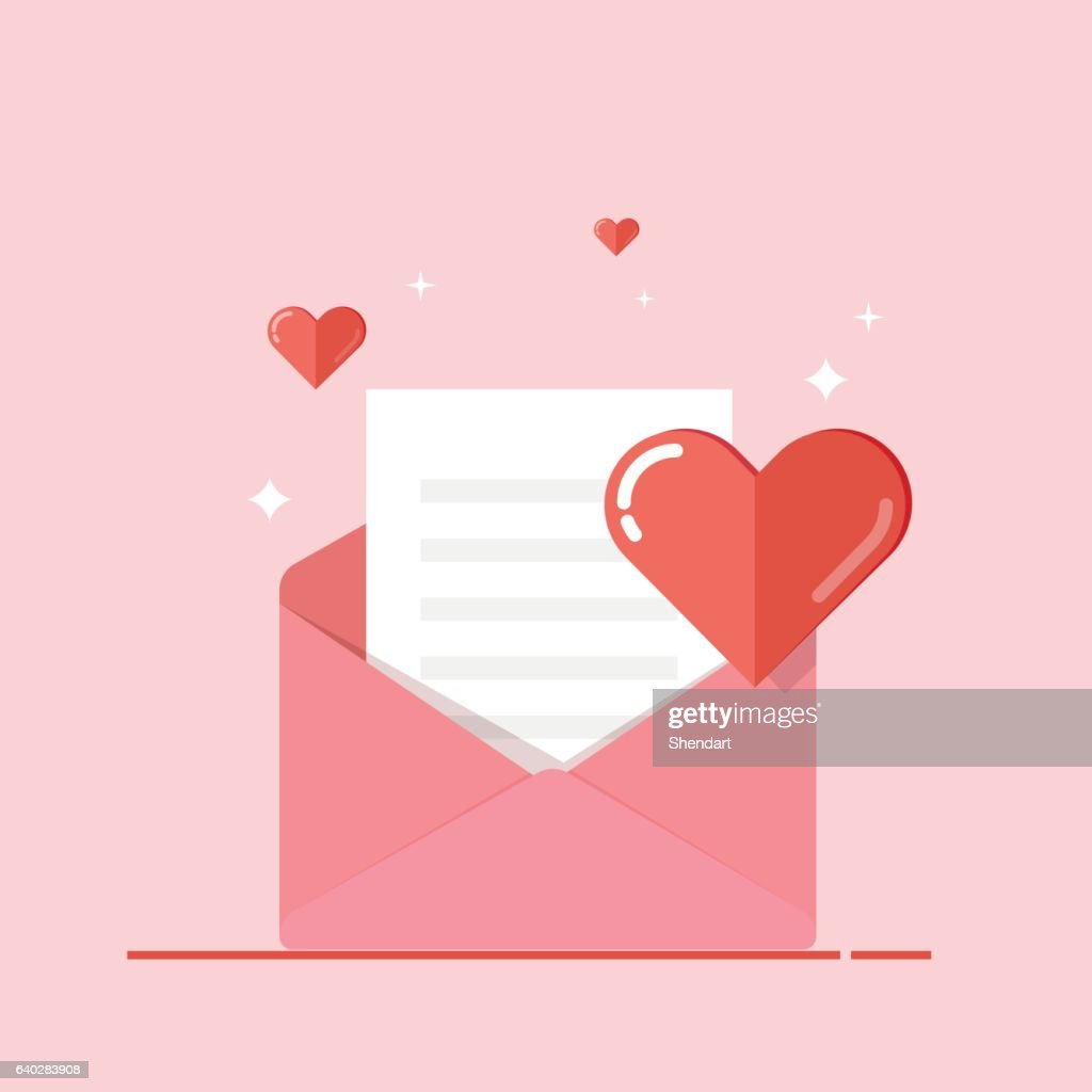 Love letter, greeting card, invitation isolated on pink background. Valentine