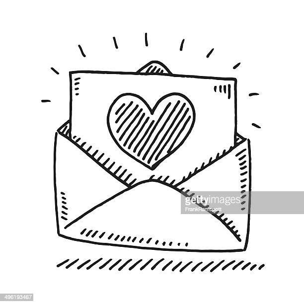 love letter heart drawing - envelope stock illustrations, clip art, cartoons, & icons