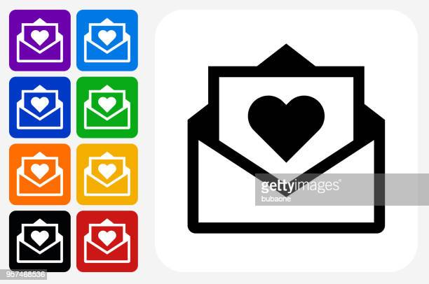 love letter icon square button set - envelope stock illustrations, clip art, cartoons, & icons