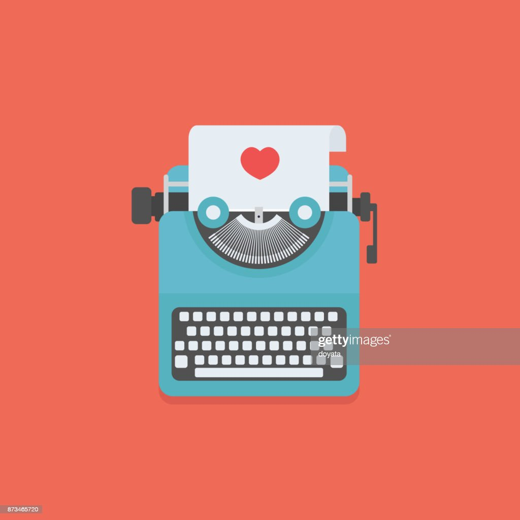 Love letter illustration, Typewriter and Paper with love sign
