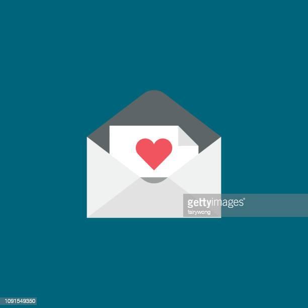love letter in envelope icon - love letter stock illustrations