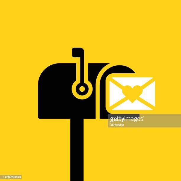 ilustraciones, imágenes clip art, dibujos animados e iconos de stock de carta de amor en el icono sobre - carta de amor