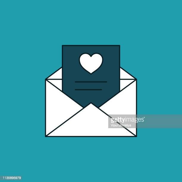 ilustraciones, imágenes clip art, dibujos animados e iconos de stock de carta de amor en el sobre icono - carta de amor