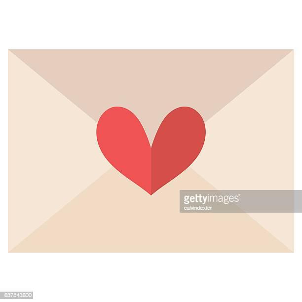 ilustraciones, imágenes clip art, dibujos animados e iconos de stock de love letter with a heart shape - carta de amor