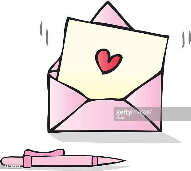 ilustraciones, imágenes clip art, dibujos animados e iconos de stock de carta de amor con forma de corazón ilustración dibujo animado - carta de amor