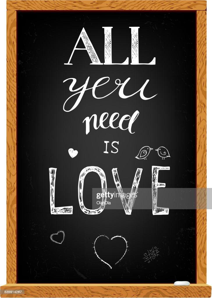 Love lettering on chalkboard : Vector Art