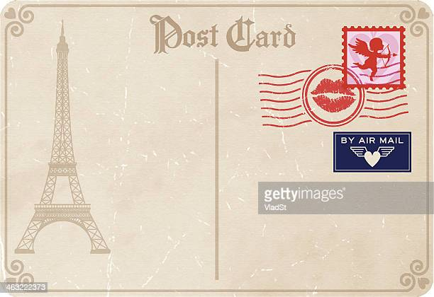 ilustraciones, imágenes clip art, dibujos animados e iconos de stock de cartas de amor-san valentín en parís. - carta de amor