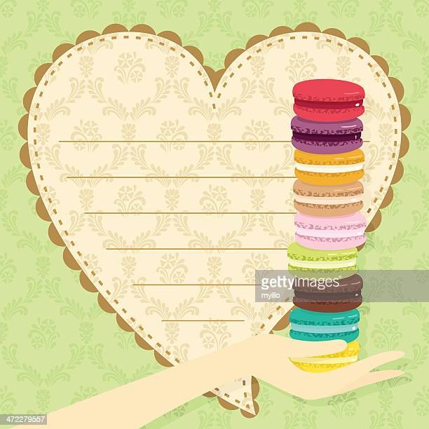 love macarons. st valentine´s day gift - macaroon stock illustrations, clip art, cartoons, & icons
