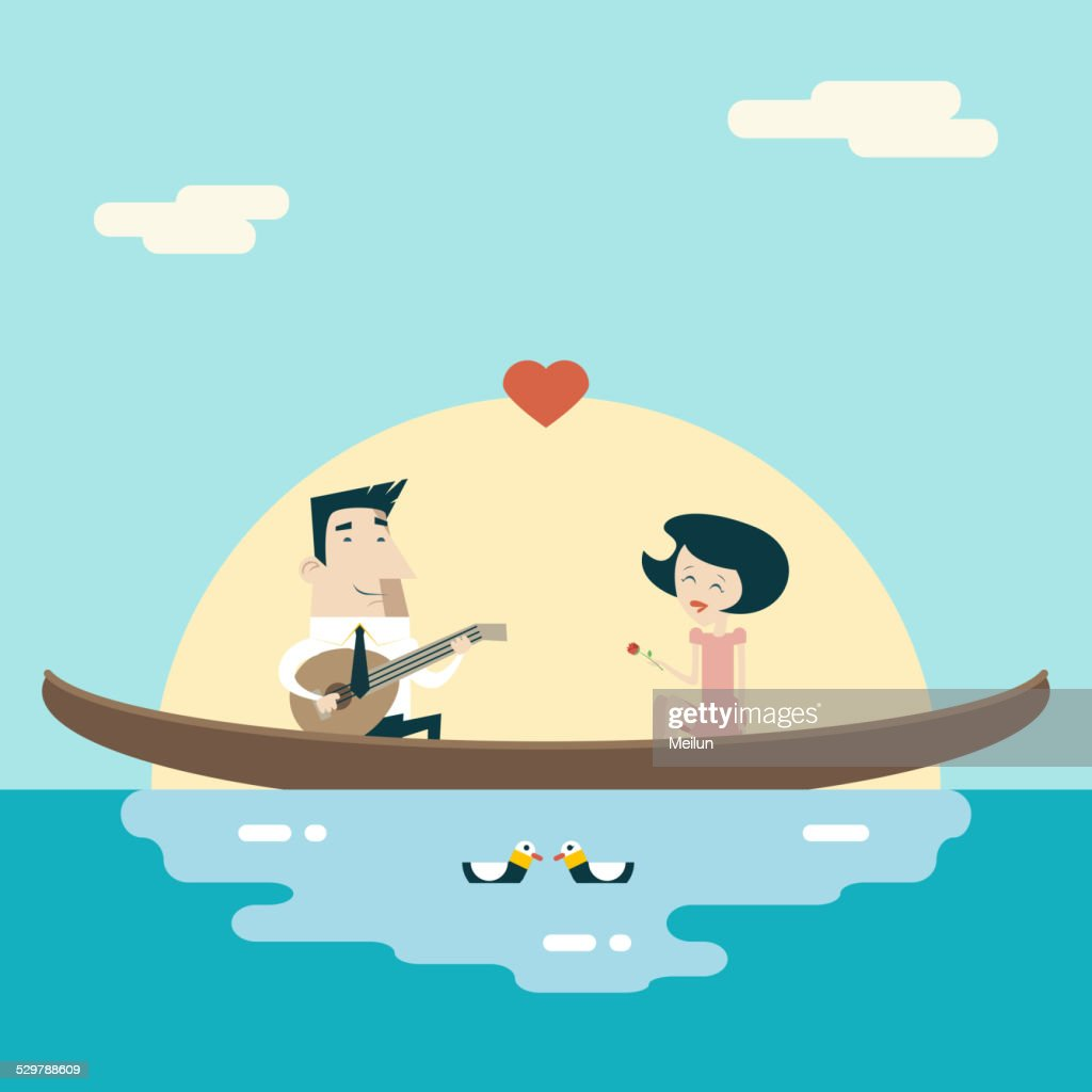 Love Male and Female on Gondola Cartoon Characters Valentine's