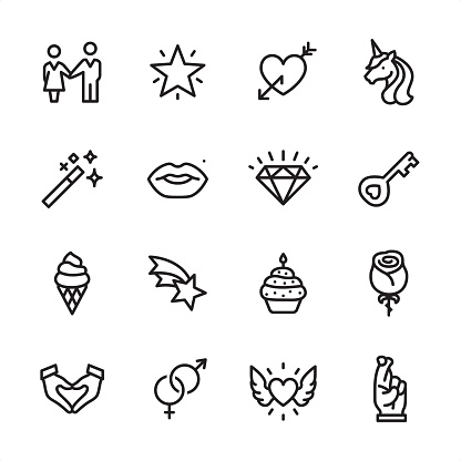 Love & Miracle - outline icon set - gettyimageskorea