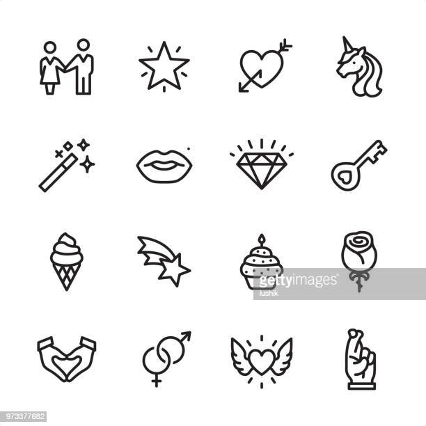 love & miracle - outline icon set - heart symbol stock illustrations