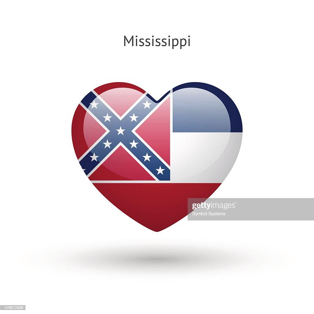 Love Mississippi state symbol. Heart flag icon