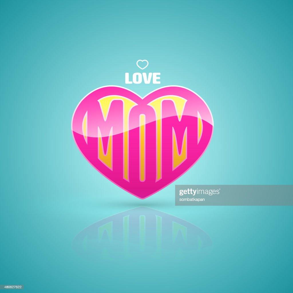 Aime maman cœur. : Clipart vectoriel