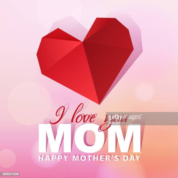 love mom paper red heart - mothers day stock illustrations