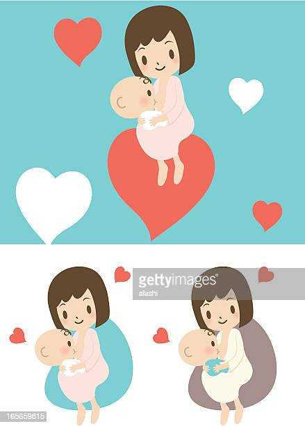 love: mother breastfeeding baby boy(girl) - kids hugging mom cartoon stock illustrations