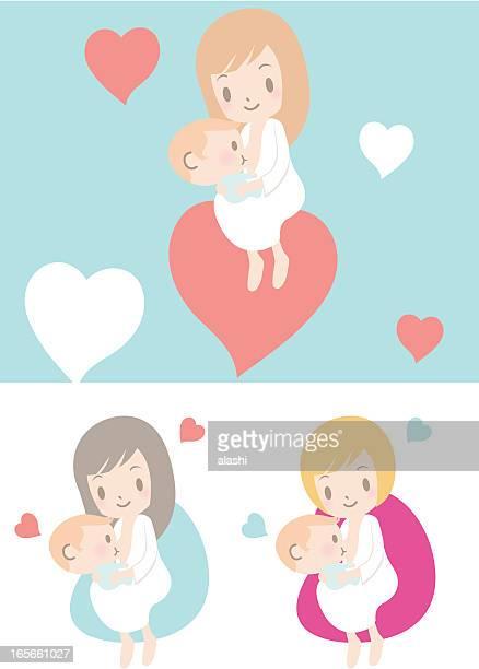 ilustraciones, imágenes clip art, dibujos animados e iconos de stock de amor: madre de bebé niño en período de lactancia (girl - lactancia materna