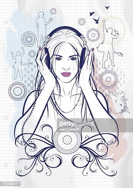 ilustraciones, imágenes clip art, dibujos animados e iconos de stock de me encanta la música 2 - mujer escuchando musica
