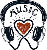 I love music. Hand drawn headphones. Design element for poster, emblem, sign. Vector illustration