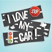 I Love My Car Banners