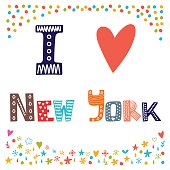 I love New York. Cute postcard. Greeting card