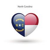 Love North Carolina state symbol. Heart flag icon
