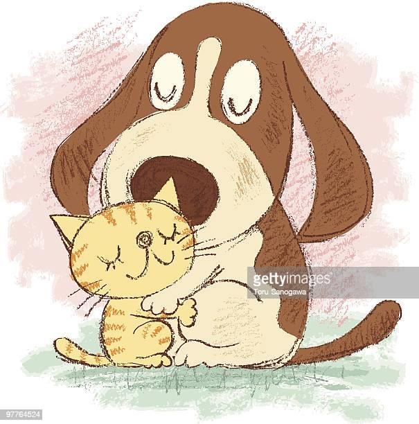 illustrations, cliparts, dessins animés et icônes de amour de chien et chat - chien humour